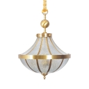 Glass and Metal Pendant Chandelier 3 Lights Antique Style Hanging Light for Dining Room Bedroom
