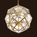 Polyhedron Shade Chandelier 3 Lights Traditional Style Clear Glass and Mental Hanging Light for Hotel