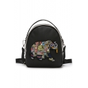 Women's New Fashion Elephant Embroidery Casual Shoulder Bag Backpack