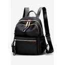 Women's Black Plain Nylon Water Resistant Backpack School Bag 25*9*30 CM