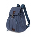 Retro Trendy Plain Canvas Drawstring Backpack 30*15*40 CM
