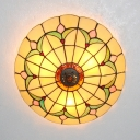 Tiffany Style Bowl Ceiling Fixture 3-4 Lights Stained Glass Ceiling Mount Light in Beige/White