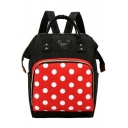 Lovely Polka Dot Pattern Mickey Mouse Patched Satchel Backpack 26*16*39 CM