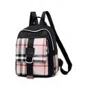 Ladies Elegant Plaid Pattern Pocket College Bag Backpack 26*11*32 CM