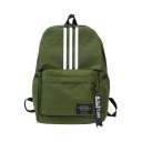 Simple Fashion Stripes Pattern Letter Ribbon School Bag Pocket Backpack for Students 29*13*42 CM