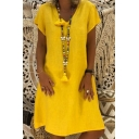 Women's Basic Simple Solid Color V-Neck Short Sleeve Holiday Beach Dress