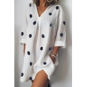 Summer Chic Polka Dot Printed V-Neck Long Sleeve Linen Casual Dress with Pocket