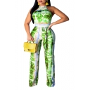 Women Hot Fashion Tie-dye Sexy Halter Backless Sleeveless Bow-Tied Waist Jumpsuits