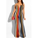 Women's New Multi Color Striped Print Sexy V-Neck Wide Legs Slim Fit Jumpsuits