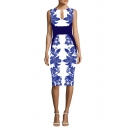 Chic Blue Floral Printed Cutout Front Sleeveless Midi Pencil Dress for Women
