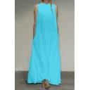 Womens Summer Unique Designer Sleeveless Maxi Loose Casual Dress