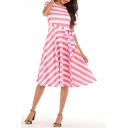 Women's New Trendy Striped Printed Round Neck Short Sleeve Bow-Tied Waist Midi A-line Dress