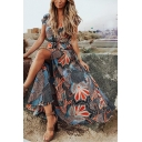 Women's Summer Trendy Grey Floral Printed V-Neck Tied Waist Split Front Maxi Boho Dress