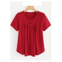 Womens Basic Simple Plain Round Neck Short Sleeve Three-Button Front Burgundy T-Shirt