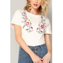 Womens Hot Fashion Floral Embroidery Round Neck Short Sleeve White T-Shirt