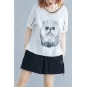 Women's Basic V-Neck Short Sleeve Cat Print Embellished Bow-Tied Back Loose Plus Size T-Shirt