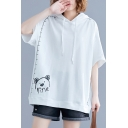 Women's Simple Bear Pattern Short Sleeves Casual Hooded White Plus Size Tee