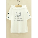 New Trendy Casual Lovely Cat Print Letter Short Sleeve Hooded Graphic Tee