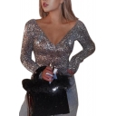 New Trendy Sexy V-Neck Long Sleeve Sequin-Embellished Plain Silver T-Shirt