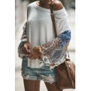 Womens New Trendy Printed One Shoulder Long Sleeve Casual Jersey Tee