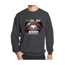 Cool Unique Iron Hand Heart I LOVE YOU 3000 Printed Round Neck Long Sleeve Pullover Sweatshirt