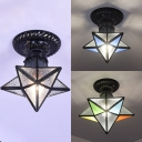 Glass Star Ceiling Light 1 Light Modern Style Clear/Blue/Colorful Light Fixture for Kitchen