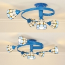 Tiffany Style Cone Semi Flush Mount Light 4/6 Lights Stained Glass Light Fixture for Bedroom