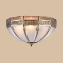 Vintage Style Flush Mount Light Dome 3 Lights Metal Ceiling Light for Dining Room