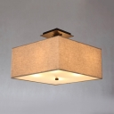 Fabric Square Semi Flush Mount Light Bedroom 4 Lights Rustic Style Ceiling Light in White