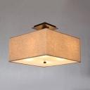 Fabric Square Semi Flush Mount Light Bedroom 4 Lights Rustic Style Ceiling Light in White