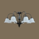 Frosted Glass Flower Ceiling Lamp Living Room 8 Lights American Rustic Semi Flush Light in Black/White