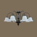 Frosted Glass Flower Ceiling Lamp Living Room 8 Lights American Rustic Semi Flush Light in Black/White
