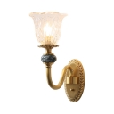 1/2 Lights Petal Shade Wall Lamp Antique Style Clear Glass Sconce Lamp in Brass for Hotel Cafe
