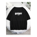 New Stylish Letter GNIGER Printed Round Neck Short Sleeve Loose Unisex T-Shirt
