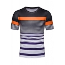 Summer New Stylish Color Block Striped Printed Short Sleeve Round Neck Men's Slim Casual T-Shirt