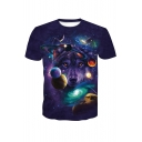 Men's Summer New Trendy 3D Galaxy Wolf Printed Basic Round Neck Short Sleeve Purple T-Shirt