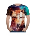 Summer Hot Popular 3D Wolf Printed Basic Round Neck Short Sleeve T-Shirt For Men