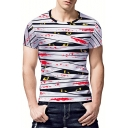 Men's New Stylish 3D Blood Stripe Eyes Printed Basic Round Neck Short Sleeve White T-Shirt