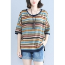 Womens Plus Size Retro Striped Printed Round Neck Casual Loose Cotton Tee