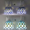 Glass Bell Wall Light Dining Room 2 Lights Mediterranean Style Sconce Light in Sky Blue/Blue