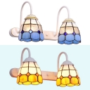 Stained Glass Bell Wall Lamp 2 Lights Tiffany Style Sconce Light in Blue/Yellow for Bathroom