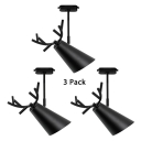 (3 Pack)1 Light Deer Horn Track Light Modern Metal Rotatable LED Spot Light in Black for Bedroom