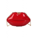 Stylish Lip Shape Crossbody Clutch Handbag with Gold Chain Strap 15*6*16 CM