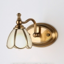 Colonial Style Dome Wall Light 1/2/3/4 Lights Metal Sconce Light in Brass for Bedroom