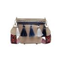 Trendy Colored Geometric Strap Tassel Embellishment Straw Crossbody Beach Bag 13*9*15 CM