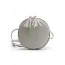 Simple Solid Color Fringe Decoration Circle Crossbody Bag 19.5*19.5*5.5 CM