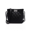 Women's Glamorous Plain Quilted Long Strap Crossbody Shoulder Bag 19*8*17 CM
