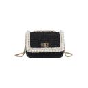 Chic Plain Lace Pearl Embellishment Square Crossbody Bag for Women 20*6*15 CM