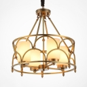 Colonial Drum Shape Chandelier Metal 4/8 Lights Brass Pendant Lighting for Living Room