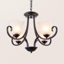 Black Bell Shade Chandelier 4/6/8 Lights Simple Style Pendant Lighting for Living Room